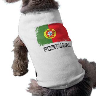 Camiseta T do cachorrinho da bandeira de Portugal
