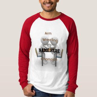 Camiseta T do campeão da luta de braço