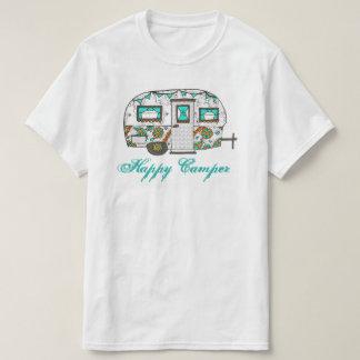 Camiseta T do campista feliz de turquesa
