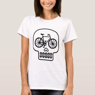 Camiseta T do crânio da bicicleta