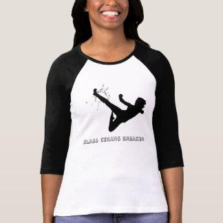 Camiseta T do disjuntor do teto de vidro da menina do geek