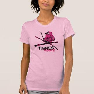 Camiseta T do esquiador do preto do rosa das senhoras de