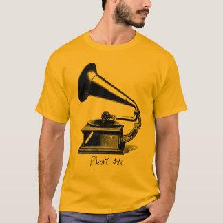 Camiseta T do fonógrafo do vintage