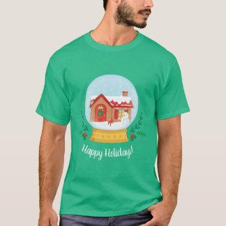 Camiseta T do globo da neve do feriado do Natal do boneco