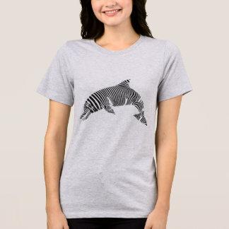 Camiseta T do golfinho da listra da zebra