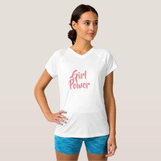 Camiseta T do gráfico do poder da menina