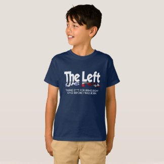 Camiseta T do Hanes TAGLESS® dos miúdos - a esquerda,