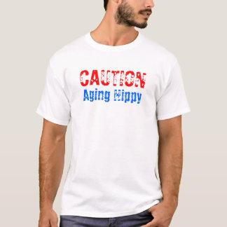 Camiseta T do hippy do envelhecimento do cuidado