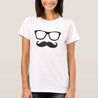 Camiseta T do hipster do bigode das mulheres