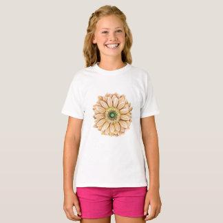 Camiseta T do impressão floral das meninas