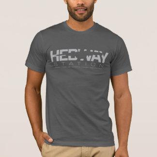 Camiseta T do logotipo da estação de HEDWAY - cinza escuro