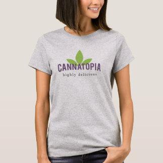 Camiseta T do logotipo do Cannatopia das mulheres