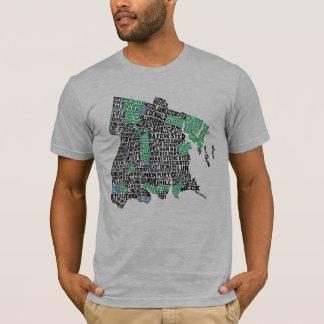 Camiseta T do mapa da tipografia da Nova Iorque de Bronx