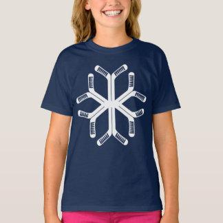 Camiseta T do Natal do floco de neve das varas de hóquei