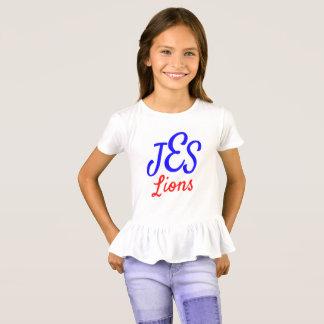 Camiseta T do plissado da menina do leão do JES