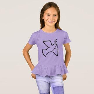 Camiseta T do plissado dos miúdos da pomba da paz de
