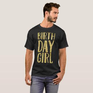 Camiseta T do presente do ouro da menina do aniversário