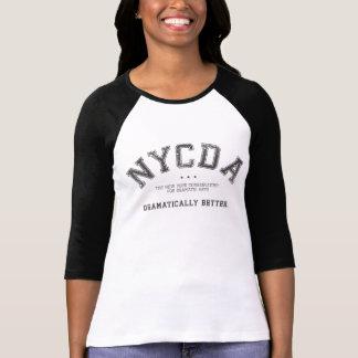 Camiseta T do preto do Raglan das mulheres de NYCDA