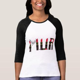 Camiseta T do Raglan do batom do maquilhador