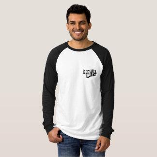 Camiseta T do Raglan do cão preto