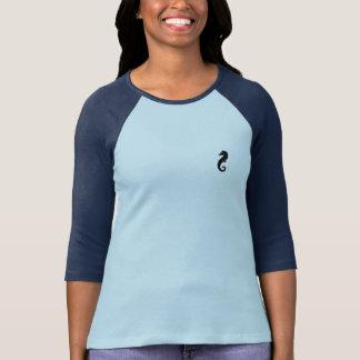 Camiseta T do Raglan do emblema do cavalo marinho