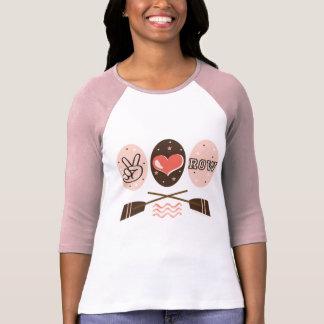 Camiseta T do Raglan do enfileiramento da fileira do amor