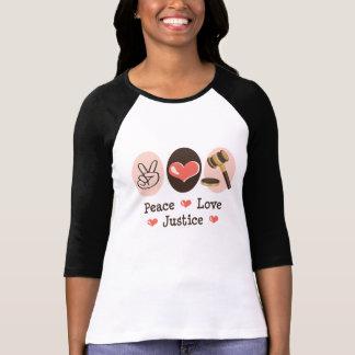 Camiseta T do Raglan do juiz de justiça do amor da paz
