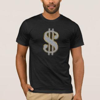 Camiseta T do sinal de dólar - preto