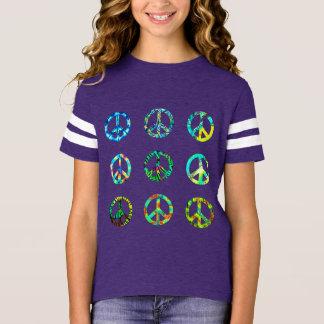 Camiseta T do sinal de paz das meninas