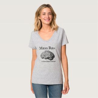 Camiseta T do V-Pescoço das senhoras com logotipo