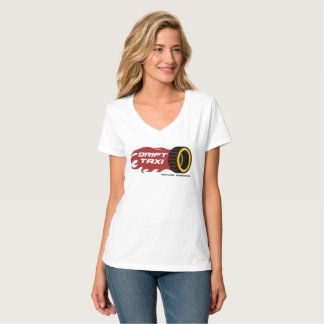 Camiseta T do V-Pescoço das senhoras do táxi da tração