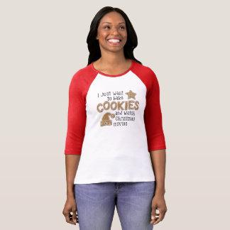 Camiseta T dos biscoitos do assar e dos filmes do Natal do
