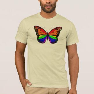 Camiseta T dos homens do arco-íris da borboleta