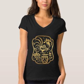 Camiseta T dourado das mulheres negras do ano 2017 do galo