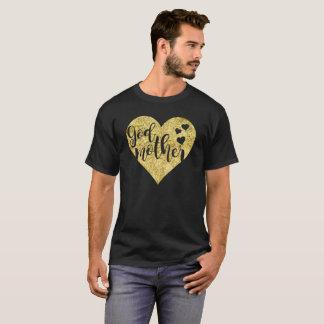 Camiseta T dourado do presente do coração da madrinha