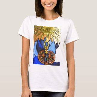 Camiseta T egípcio de Lotus azul Aten do escaravelho