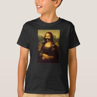 Camiseta T engraçado do bigode da Mona Lisa dos miúdos por