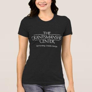 Camiseta T escuro do jérsei das mulheres do logotipo de