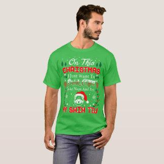 Camiseta T feio da camisola do Natal de Shih Tzu do animal