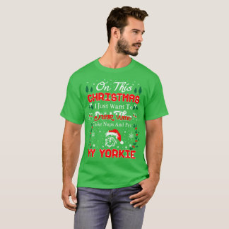 Camiseta T feio da camisola do Natal de Yorkie do animal de