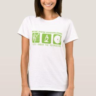 Camiseta T feminino do ícone amarelo do microscópio