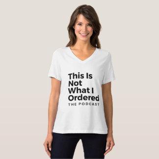 Camiseta T feminino do Podcast do V-Pescoço