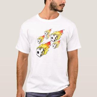 Camiseta T flamejante dos dados