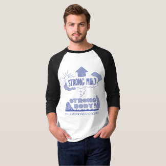 Camiseta T forte do Raglan do corpo da mente forte dos