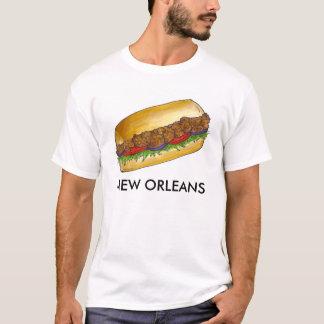 Camiseta T fritado LA de Po'Boy Poboy NOLA da ostra de Nova
