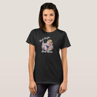 Camiseta T grosso do Pinup das coxas das mulheres