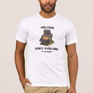 Camiseta T impresso do robô Overlords bem-vindos