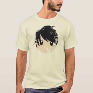 Camiseta T japonês afligido vintage da cara do Anime