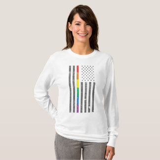 Camiseta T longo básico da luva das mulheres americanas da