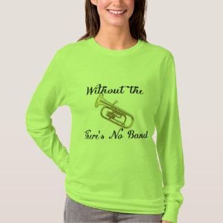 Camiseta T longo básico da luva das mulheres do barítono
